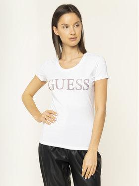 Guess Guess Marškinėliai Crystal W01I74 J1300 Balta Regular Fit