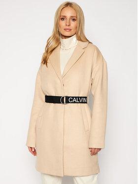 Calvin Klein Jeans Calvin Klein Jeans Gyapjú kabát J20J214841 Bézs Regular Fit