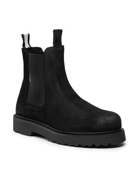 Tommy Jeans Tommy Jeans Členková obuv s elastickým prvkom Suede Chelsea Boot EM0EM00829 Čierna