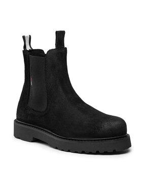 Tommy Jeans Tommy Jeans Kotníková obuv s elastickým prvkem Suede Chelsea Boot EM0EM00829 Černá