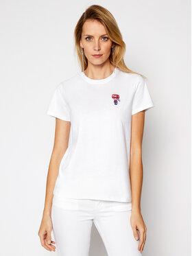 KARL LAGERFELD KARL LAGERFELD Marškinėliai Mini 3 Ikonik Choupette Tee 210W1728 Balta Regular Fit
