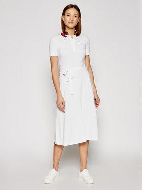 Tommy Hilfiger Tommy Hilfiger Každodenní šaty Global WW0WW30368 Bílá Regular Fit