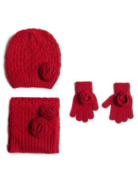 Mayoral Mayoral Sada čiapka, šál a rukavice 10897 Červená