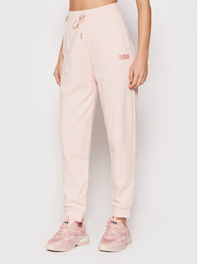 Puma Puma Teplákové kalhoty High Waist 589528 Růžová Relaxed Fit