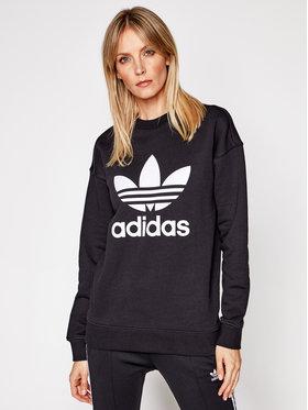 adidas adidas Bluză Trefoil Crew FM3272 Negru Regular Fit