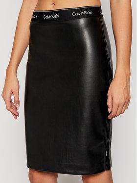 Calvin Klein Calvin Klein Bőr szoknya Mixed Media Pensil K20K202486 Fekete Slim Fit