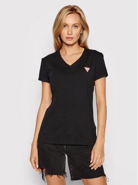 Guess Guess T-shirt Mini Triangle W1YI1AJ1311 Crna Slim Fit
