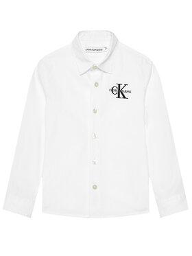 Calvin Klein Jeans Calvin Klein Jeans Marškiniai Hybrid Chest Logo IB0IB00830 Balta Regular Fit