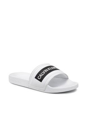 Calvin Klein Jeans Calvin Klein Jeans Чехли Slide Tape Inst Co YW0YW00409 Бял