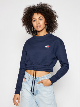 Tommy Jeans Tommy Jeans Džemperis Tjw Super Cropped Badge Crew DW0DW09797 Tamsiai mėlyna Regular Fit