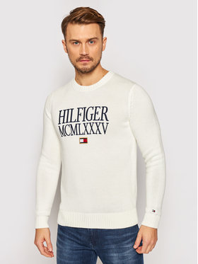 TOMMY HILFIGER TOMMY HILFIGER Пуловер Contrasted Chest Logo MW0MW15456 Бял Regular Fit