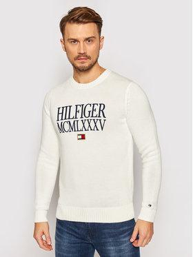 TOMMY HILFIGER TOMMY HILFIGER Sveter Contrasted Chest Logo MW0MW15456 Biela Regular Fit