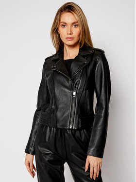 TOMMY HILFIGER TOMMY HILFIGER Bőrkabát Leather Biker WW0WW28680 Fekete Regular Fit