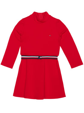 TOMMY HILFIGER TOMMY HILFIGER Sukienka codzienna Essential Skater KG0KG05437 M Czerwony Regular Fit