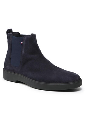 Tommy Hilfiger Tommy Hilfiger Kotníková obuv s elastickým prvkem Classic Suede Chelsea FM0FM03816 Tmavomodrá