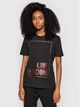 LOVE MOSCHINO LOVE MOSCHINO Póló W4H0605M 3876 Fekete Regular Fit