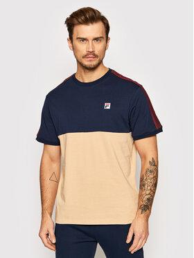 Fila Fila T-Shirt Cian Blocked 688985 Beżowy Regular Fit