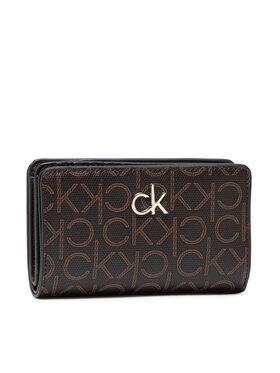 Calvin Klein Calvin Klein Голям дамски портфейл Billfold French Wallet Monogram K60K608328 Кафяв
