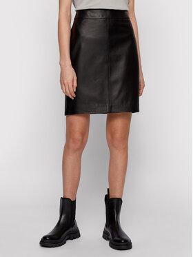 Boss Boss Kožená sukně Selua_Vd 50452507 Černá Regular Fit