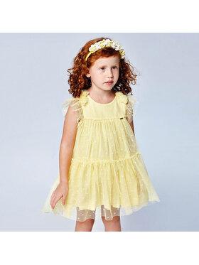 Mayoral Mayoral Елегантна рокля 3913 Жълт Regular Fit