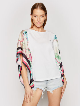 Guess Guess Bluză Lindsey Tee W1GI1C JA900 Alb Relaxed Fit