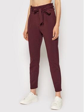 Vero Moda Vero Moda Kalhoty z materiálu Eva 10205932 Bordó Loose Fit