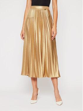 TwinSet TwinSet Plisovaná sukně 202TT2196 Zlatá Regular Fit