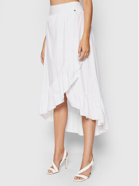 Rinascimento Rinascimento Midi sukňa CFC0103584003 Biela Regular Fit