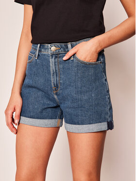 Lee Lee Džínsové šortky Mom L37MMG44 Tmavomodrá Regular Fit