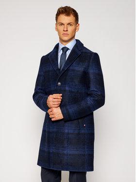 Tommy Hilfiger Tailored Tommy Hilfiger Tailored Vlněný kabát Jersey Check TT0TT08128 Tmavomodrá Regular Fit