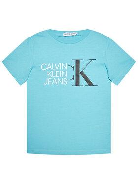 Calvin Klein Jeans Calvin Klein Jeans Marškinėliai Hybrid Logo Fitted IB0IB00849 Mėlyna Regular Fit