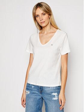 Tommy Jeans Tommy Jeans T-Shirt V Neck DW0DW09195 Λευκό Slim Fit