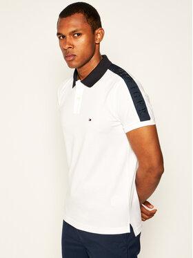 TOMMY HILFIGER TOMMY HILFIGER Тениска с яка и копчета Shoulder Logo Hilfiger MW0MW13112 Бял Slim Fit