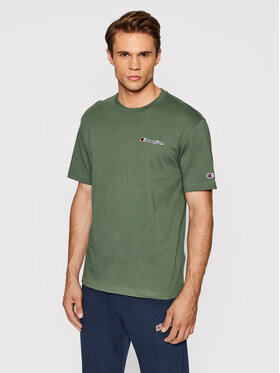 Champion Champion T-Shirt Organic Cotton Blend Small Script Logo 216480 Zielony Comfort Fit