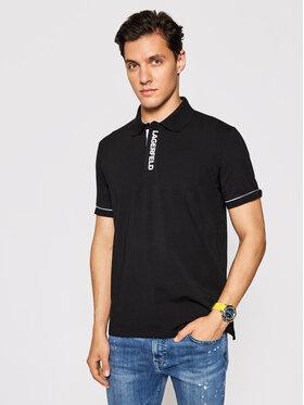 KARL LAGERFELD KARL LAGERFELD Тениска с яка и копчета 745017 511221 Черен Regular Fit