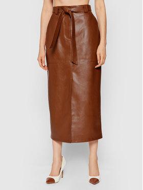 NA-KD NA-KD Suknja od imitacije kože 1018-007276-0017-581 Smeđa Regular Fit