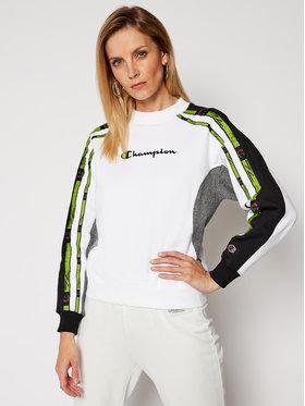 Champion Champion Sweatshirt Colour Block Jacquard Logo Tape 113339 Blanc Custom Fit