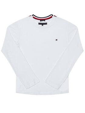 TOMMY HILFIGER TOMMY HILFIGER Bluse Solid Rib Tee KB0KB06212 D Weiß Regular Fit