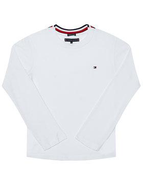 TOMMY HILFIGER TOMMY HILFIGER Блуза Solid Rib Tee KB0KB06212 D Бял Regular Fit