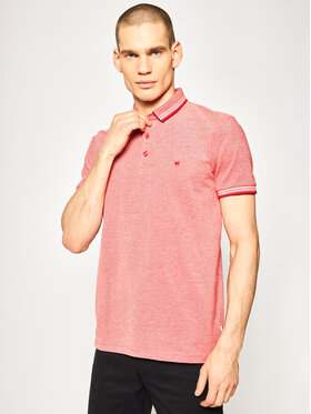 Wrangler Wrangler Тениска с яка и копчета Refined W7D6KHXWO Червен Regular Fit