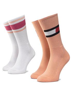 TOMMY HILFIGER TOMMY HILFIGER Σετ 2 ζευγάρια ψηλές κάλτσες γυναικείες 394020001 Λευκό