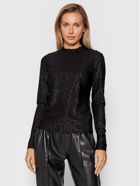Guess Guess Блуза Embossed Logo W1BP18 KA2O1 Черен Regular Fit