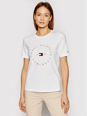 Tommy Hilfiger Tommy Hilfiger T-shirt Circle C-Nk WW0WW30103 Blanc Regular Fit