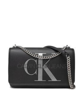 Calvin Klein Jeans Calvin Klein Jeans Kabelka Sculpted Conv E/W Flap Silver K60K608379 Čierna