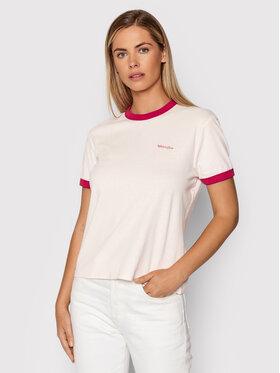 Wrangler Wrangler Marškinėliai Ringer W7S0DRP38 Rožinė Regular Fit