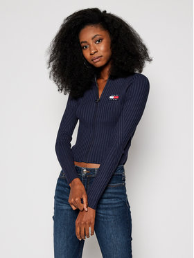 Tommy Jeans Tommy Jeans Sweter Ribbed Zip-Thru DW0DW09083 Granatowy Regular Fit