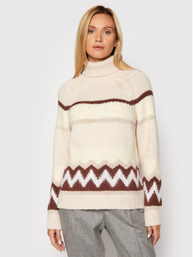 Peserico Peserico Pull à col roulé S99197F03 Beige Loose Fit
