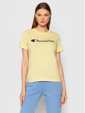 Champion Champion T-Shirt Script Logo 114472 Żółty Regular Fit