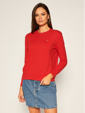 Tommy Jeans Tommy Jeans Megztinis Soft Touch Crew DW0DW08853 Raudona Regular Fit