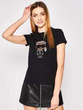 KARL LAGERFELD KARL LAGERFELD T-Shirt Ikonik Rhinestone Karl 201W1700 Černá Regular Fit